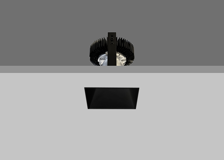 Trimless Ambiance X80 Square Fixed Black Reflector